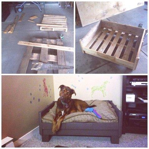 Version chic avec ce lit pour grand chien qui nécessite deux palettes. la première sert de base au lit tandis que la deuxième est utilisée pour fabriquer les rebords du lit