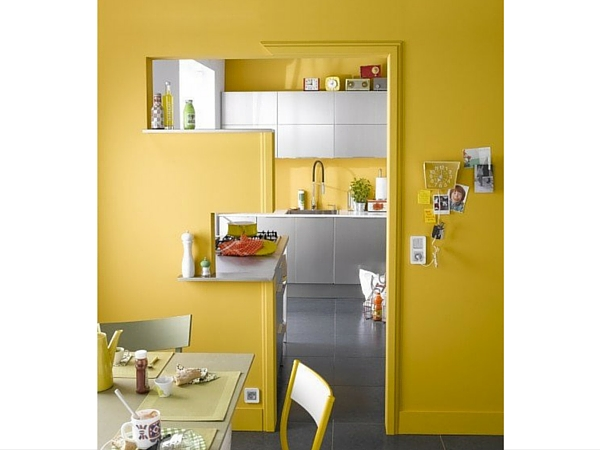 une peinture cuisine jaune qui a du peps. Black Bedroom Furniture Sets. Home Design Ideas