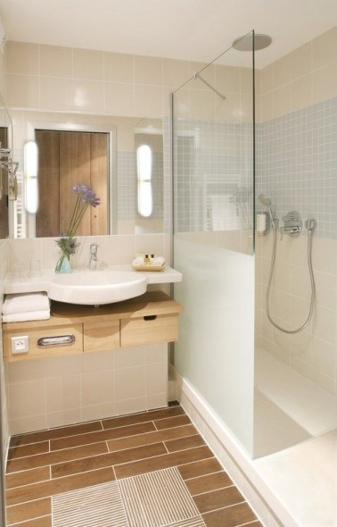 D co styl e pour une petite salle de bain deco cool - Idee carrelage salle de bain moderne ...