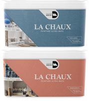 Pots de peinture à la chaux couleurs Rouge Marrakech et Bleu Cyclades de Maison Déco