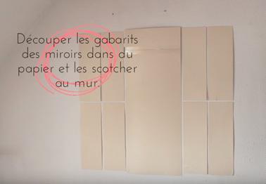 La petite astuce afin de vous faciliter la tâche et d'obtenir une verrière d'intérieur en miroirs bien droite c'est d'utiliser des grandes feuilles de papier en guise de gabarit