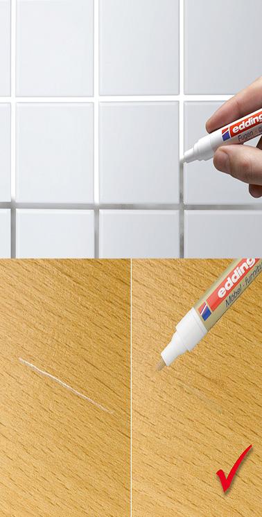 Un stylo peinture pour joints carrelage et rayures sur le bois for Peinture pour carrelage