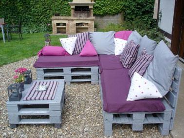 Canap s en palette pour les nuls en bricolage deco cool - Coussin pour canape de jardin ...