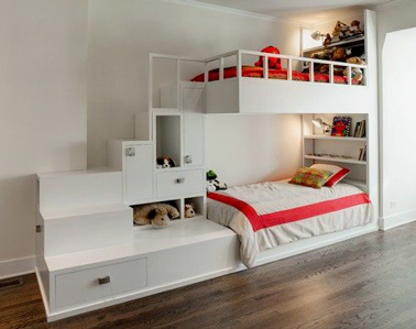 Voilà une chambre d'ado pour vos deux filles ultra déco avec un lit superposé mignon comme tout ! Espaces de rangements et petit coin perso, une chambre idéale à partager