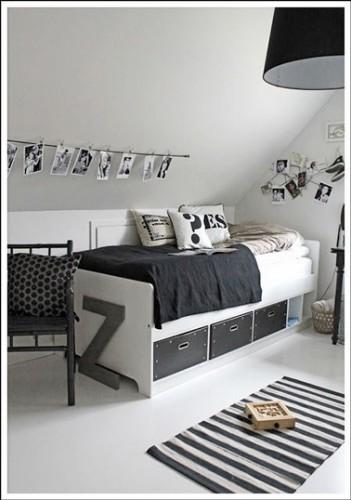 chambre ado fille tendance d co noire et blanche. Black Bedroom Furniture Sets. Home Design Ideas