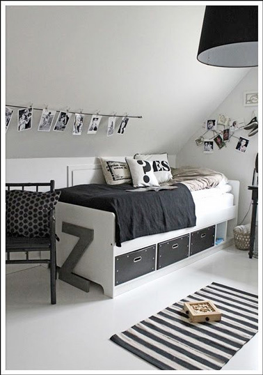 chambre ado en noir et blanc id e inspirante pour la conception de la maison. Black Bedroom Furniture Sets. Home Design Ideas