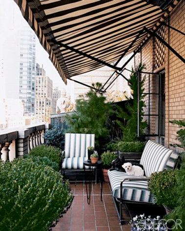 Sur ce balcon où balustres et salon de jardin chic font la déco, l'intimité est préservée grâce aux buis et aux pins qui font office de brise vue. Une déco végétale originale pour un balcon qui a du charme