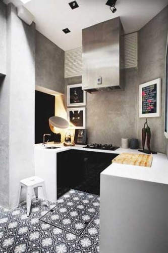 d co cuisine ouverte en carreaux de ciment et peinture effet. Black Bedroom Furniture Sets. Home Design Ideas