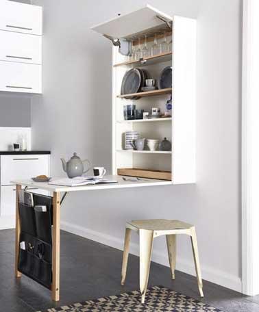 Diy d co de table de cuisine avec placard vaisselier - Table escamotable cuisine ...