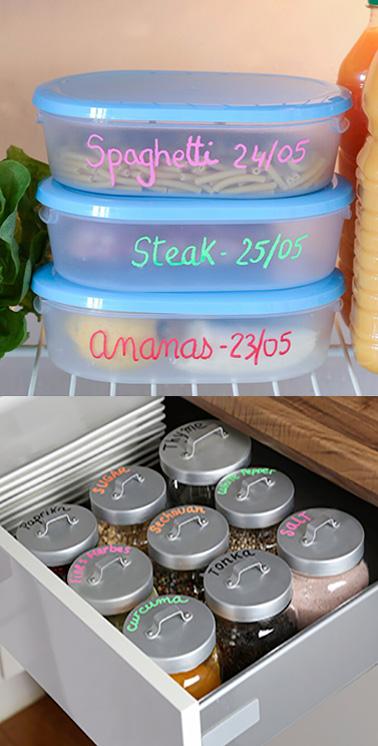 Un marqueur craie pour mettre de la couleur et personnaliser vos objets dans la maison de manière éphémère ! Facile et pratique pour un rendu hyper déco et original