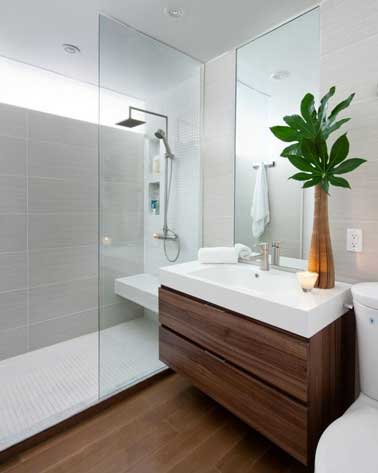 Dans une petite salle de bain, à la fois pratiques et accessoires de déco, un grand miroir et une paroi douche en verre pour douche italienne agrandissent l'espace