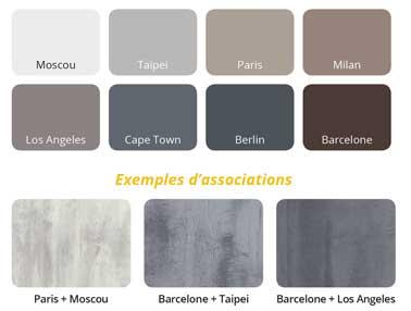 Nuancier de la peinture effet béton décliné en 9 nuances de gris, taupe, brun et blanc pour une déco industrielle sur murs et sols. Peinture Loft Original de ID