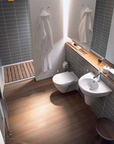 Petite salle de bain carrelage gris et bois - Salle de bain petite ...