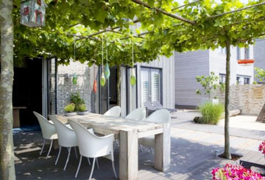 La terrasse s'abrite grâce à un toit original composé de vignes vierges, un aménagement idéal pour obtenir de l'ombre, créer un espace intime et profiter des repas dans le jardin