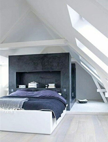 une chambre parentale sous combles avec t te de lit originale. Black Bedroom Furniture Sets. Home Design Ideas