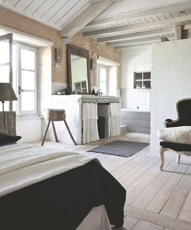 Chambre aux tons naturels avec des poutres apparentes d co - Deco maison ancienne avec poutre ...