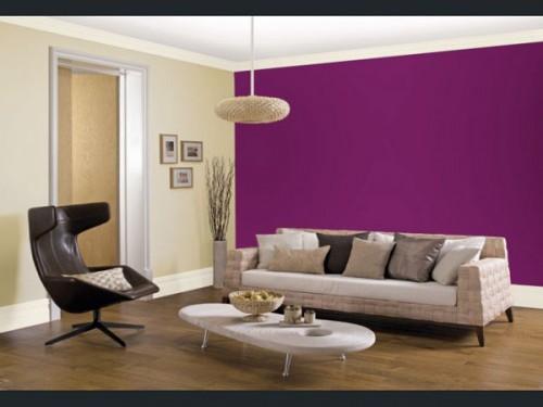 couleur prune en peinture salon. Black Bedroom Furniture Sets. Home Design Ideas