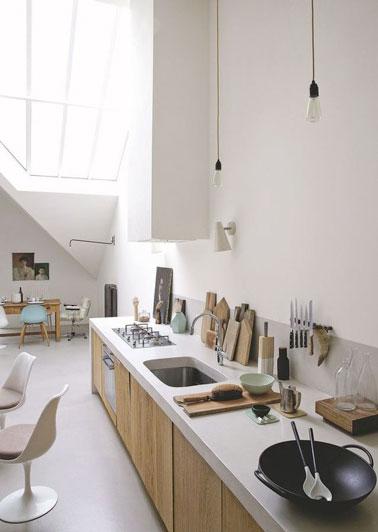 Une cuisine bois et blanche ouverte sur le salon - Deco salon ouvert sur cuisine ...
