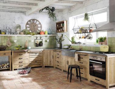 Cuisine en bois de beaux mod les d co pour s inspirer - Ilot cuisine maison du monde ...