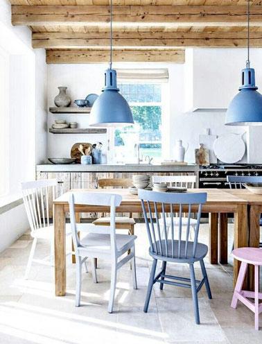Les couleurs pastel s'invitent dans la cuisine rustique ! Une déco colorée et fraiche dans une pièce lumineuse pour une cuisine pleine de charme et d'originalité