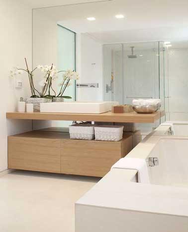 D co minimaliste dans une salle de bain zen for Couleur salle de bain zen