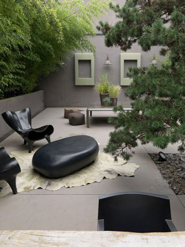 d co terrasse avec mobilier design et jardin zen. Black Bedroom Furniture Sets. Home Design Ideas