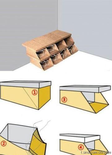 diy rangement chaussures pas cher par pliage carton. Black Bedroom Furniture Sets. Home Design Ideas