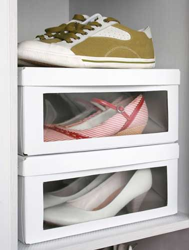 Rangement chaussures dans bo tes chaussures transparentes - Rangement chaussures pas cher ...