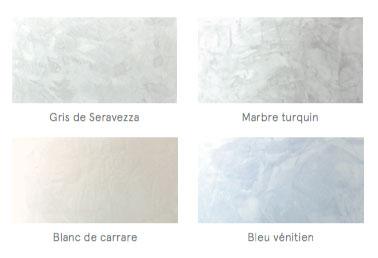 Des murs en stuc avec ce nuancier quatre couleurs Marbre Turquin, Bleu vénitien, Gris de Seravezza et Blanc de Carrare pour une déco chic dans la salle de bain, le salon ou l'entrée