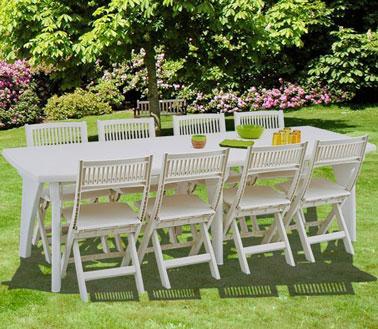 Une jolie table de jardin en r sine blanche - Table jardin blanche lille ...