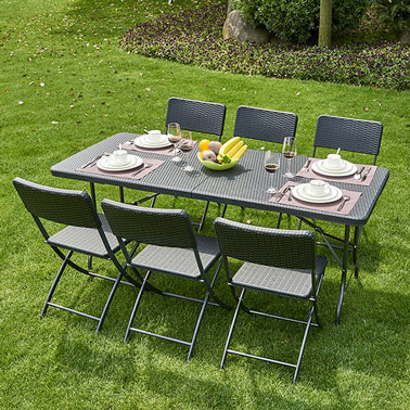 D co la table de jardin pliante en r sine tress e noire - Table jardin tresse ...