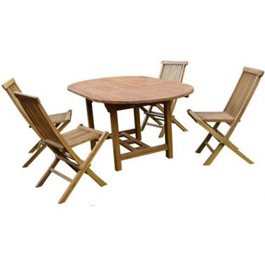 Une table de salon de jardin en teck pour 4 6 personnes - Table en teck exterieur ...