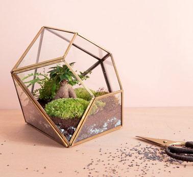 Un terrarium géométrique en forme de diamant, avec des bords dorés, un joli récipient de déco pour créer son paysage de jardin avec de la mousse, du gravier, des plantes.