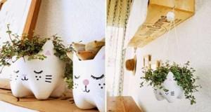 Découvrez 4DIY déco pour réaliser des pots de fleurs en transformant de simples bouteilles plastique de récup peintes et décorées de motifs rigolos