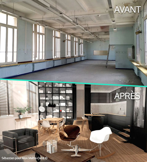 Avant et apr s d co loft for Plan de loft moderne