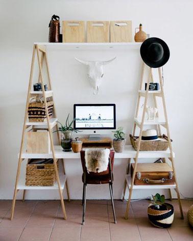 Bureau r aliser avec des chelles en bois deco cool for Idee bureau pour petit espace