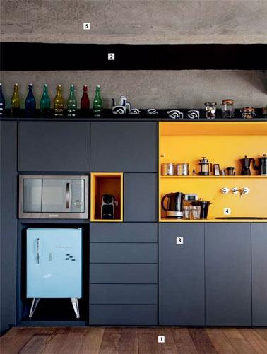 une cuisine bleu canard avec une cr dence color e d co. Black Bedroom Furniture Sets. Home Design Ideas