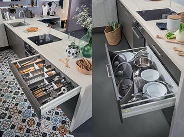Une d co cuisine avec des astuces rangements pour tiroirs for Rangement tiroir cuisine ikea