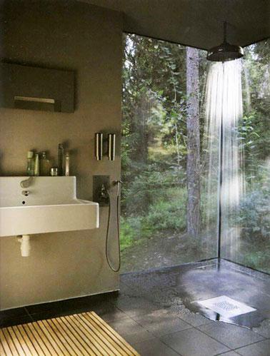 Ambiance zen et vue sur le jardin dans cette salle de bain aménagée avec une douche italienne. Une déco charmante pour des moments de bien-être absolu dans la salle de bain