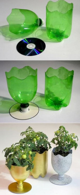 diy d co transformer des bouteilles plastique en pot de. Black Bedroom Furniture Sets. Home Design Ideas