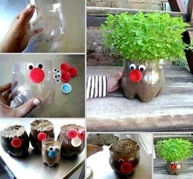 Réutiliser les bouteilles plastiques, une astuce sympa pour se créer une déco intérieure originale et unique avec des pots de fleurs autant loufoques qu'inimaginable.
