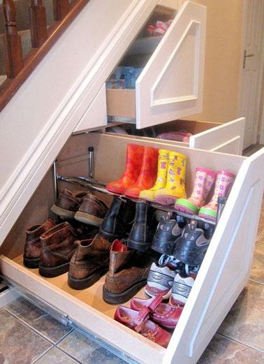Un rangement de chaussures sous escaliers - Rangement chaussures sous escalier ...