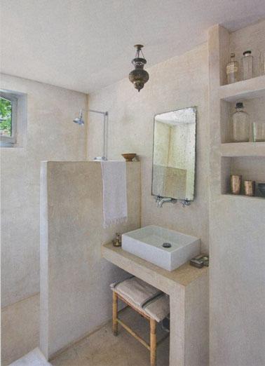Ambiance spa dans cette petite salle de bain aménagée avec une douche italienne dont les murs sont habillés de stuc gris pour déco douce, originale apaisante !