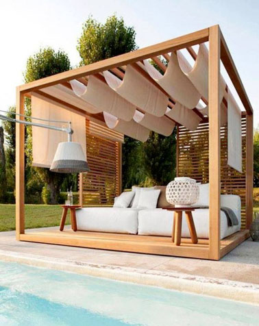 terrasse de piscine avec une pergola en bois sur mesure. Black Bedroom Furniture Sets. Home Design Ideas