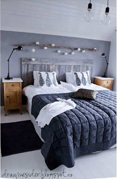 une t te de lit en bois dans une chambre la d co cocooning. Black Bedroom Furniture Sets. Home Design Ideas
