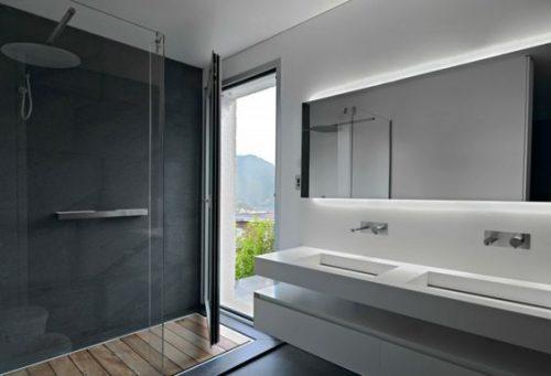 Du b ton cir en d co salle de bain design - Beton cire mur salle de bain ...