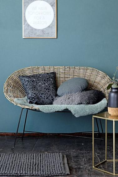 Voilà un salon de style contemporain aux murs de couleur bleu canard meublé par une table basse aux lignes géométriques et un canapé en rotin sur pieds en métal noir