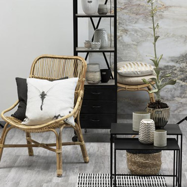 D co contemporaine dans un salon avec fauteuil rotin naturel - Deco contemporaine chic ...