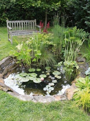 Romantisme absolu pour cette déco extérieure ponctuée par un bassin de jardin charmant et un banc en bois où on se relaxerait volontiers au coeur de la verdure