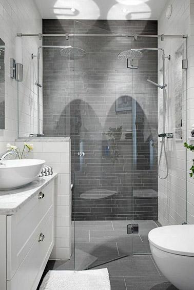 Une douche italienne dans une petite salle de bain d co chic - Decoration petite salle de bain ...